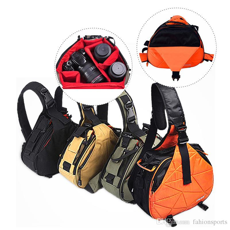 da637fb7e6a 2019 DSLR Camera Sling Bag Digital Photo Bag Shoulder Waterproof Backpack  Padded Insert Case Bag With Rain Cover For Canon Sony From Fahionsports, ...