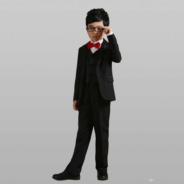 92f9911f0 Black Jackets + Pants + Bow Tie + Shirt+Coat Boy Costumes Flower ...