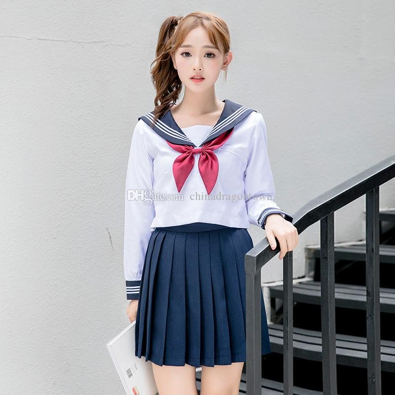 6cd312181 Long Sleeve Japanese Korea Girls School Uniform Women Sailor Suit (  top+skirt )sets Female cosplay dress Naval College Style Anime Costume
