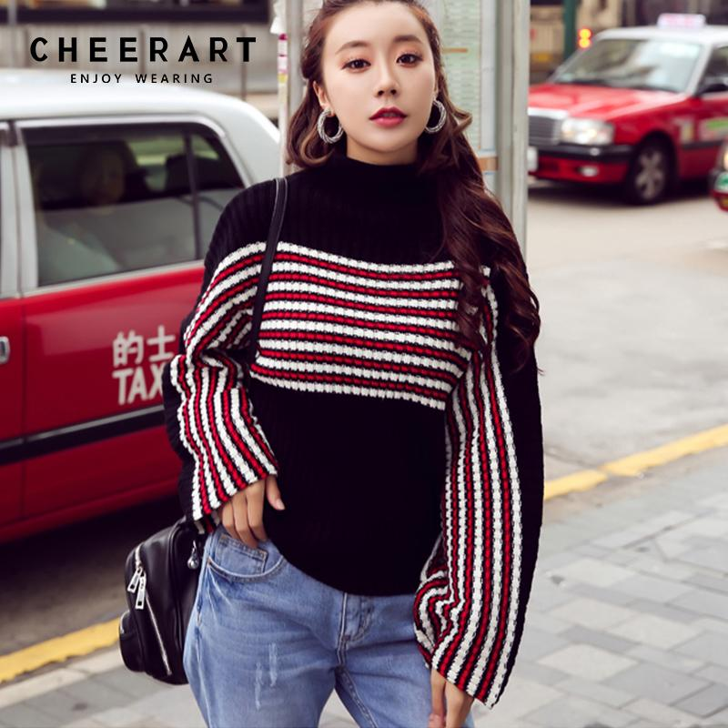 55a07c910eb94 Cheerart Winter 2018 Turtleneck Sweater Women Striped Pullover Plus ...