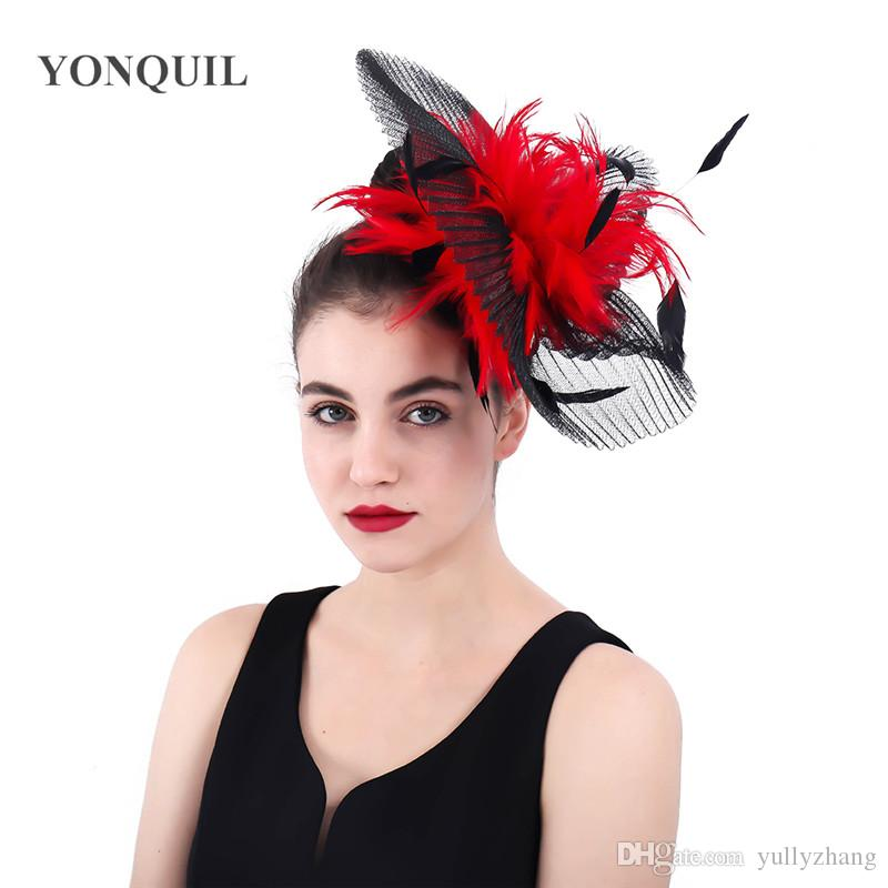 2018 New Design Black And Red Hair Fascinators Wedding Hat Feather  Accessories Bridal Mesh Headdress For Kenducky Party Headwear SYF364 UK  2019 From ... 359dfa5835d