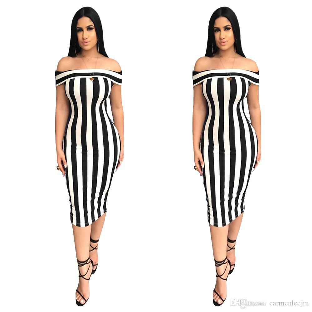e39b3bb3dc15 Sexy Stripe Bodycon Dresses 2018 White Black Striped Sexy Summer Night Out  Clubwear Bandage Dresses Elegant Party Dresses Over Knee Red Evening Dress  ...