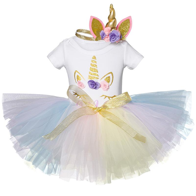 d0d01955acfb1 Unicorn Party Costume For 1 Year Old Baby Girls Colorful Infant Toddler  Kids Dress 1st Birthday Clothes Bebes Christening Gowns