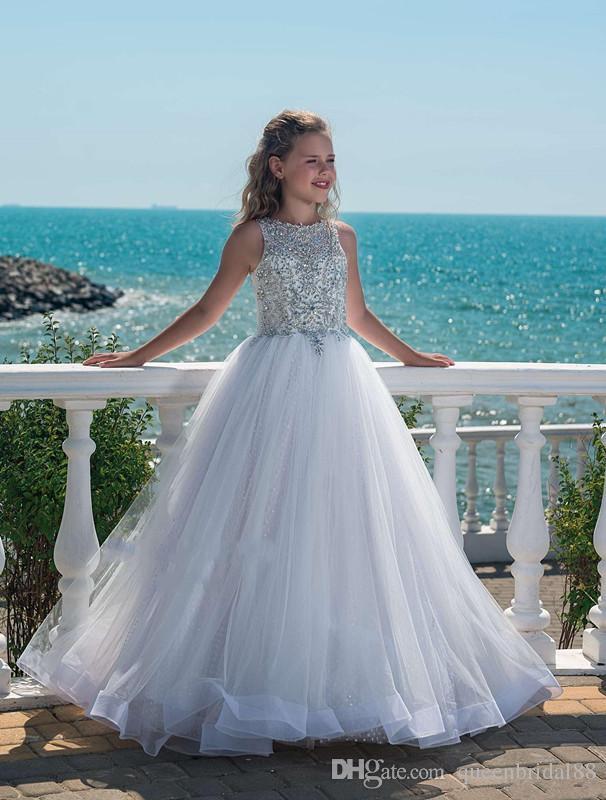 Bling Beaded Rhinestone Jewel Neck Sleeveless Little Girls Pageant Gowns Buttons Back Long Tulle Flower Girls Dresses for Weddings