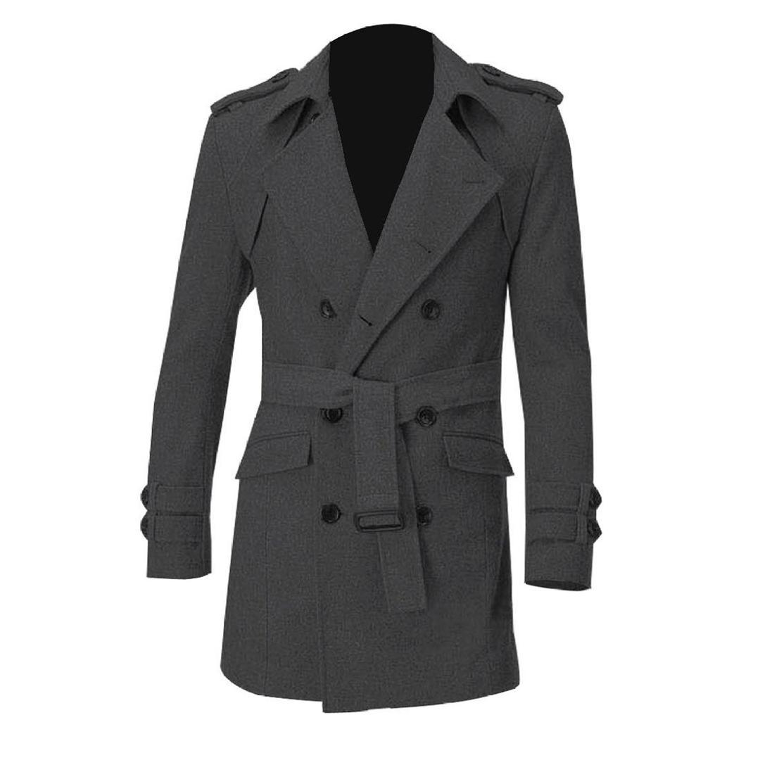 f85b843ae Men Epaulets Slim Fit Double Breasted Belted Worsted Coat Gray