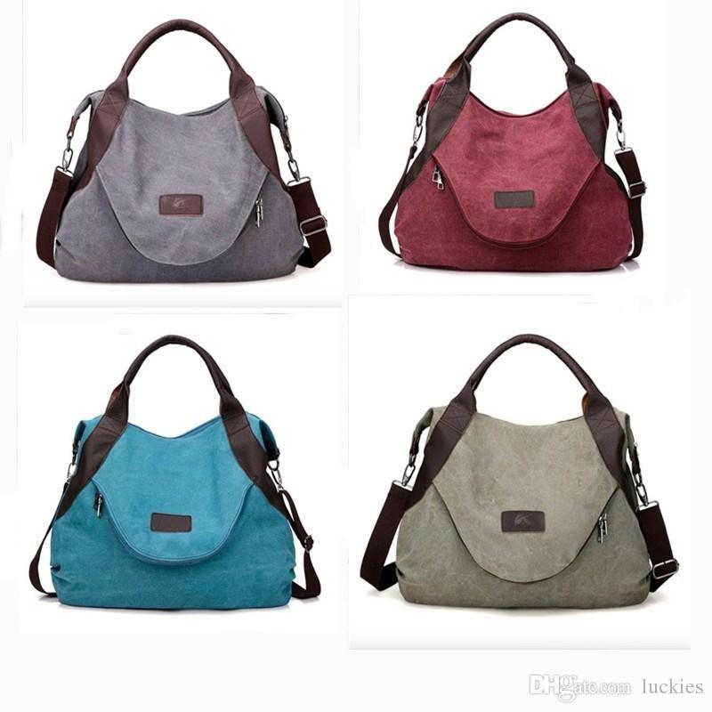 a5d112ddc4 New Arrivals Women Brand Large Pocket Casual Tote Vintage Style Handbag  Shoulder Crossbody Handbags Canvas Leather Capacity Bags 0266 Handbags  Wholesale ...