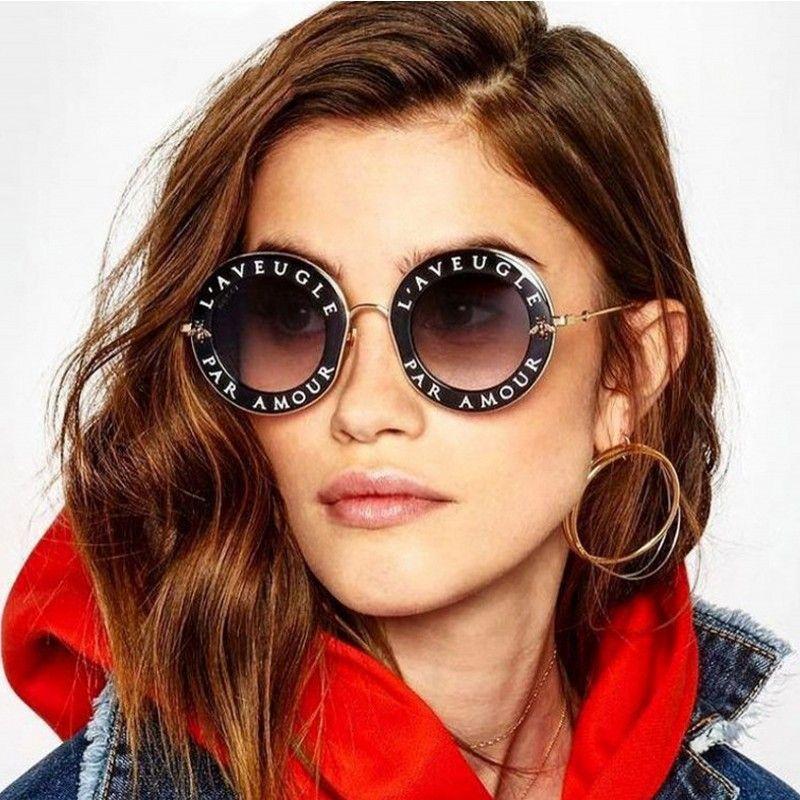 1f19d2dc33f3 Fashion Round English Letters Sunglasses Transparent Frame Tint Lens ...