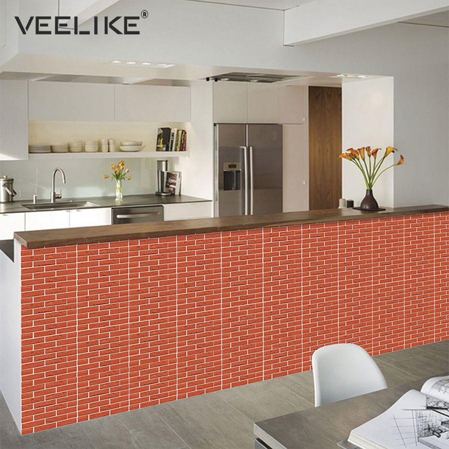 3D Backsteinmauer Panels PVC Selbstklebende Tapete für Küche Backsplash  Peel und Stick Fliesen Wandpapier für Badezimmer Wohnzimmer