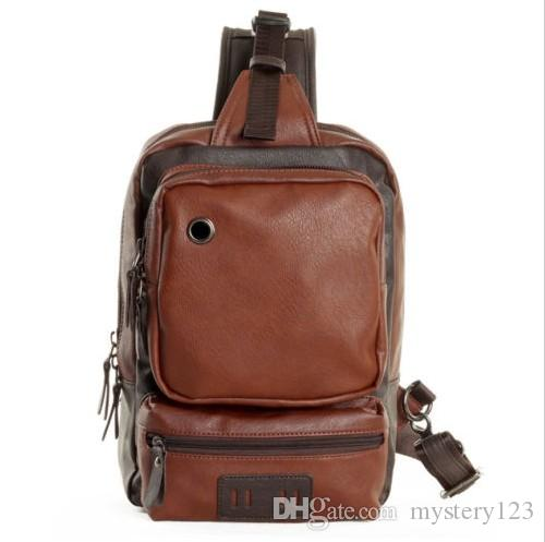 9a2df49d77 Men S PU Leather Sling Backpack Shoulder Crossbody Cycle Unbalanced Bags  Satchel Mochilas Jansport School Backpacks From Mystery123