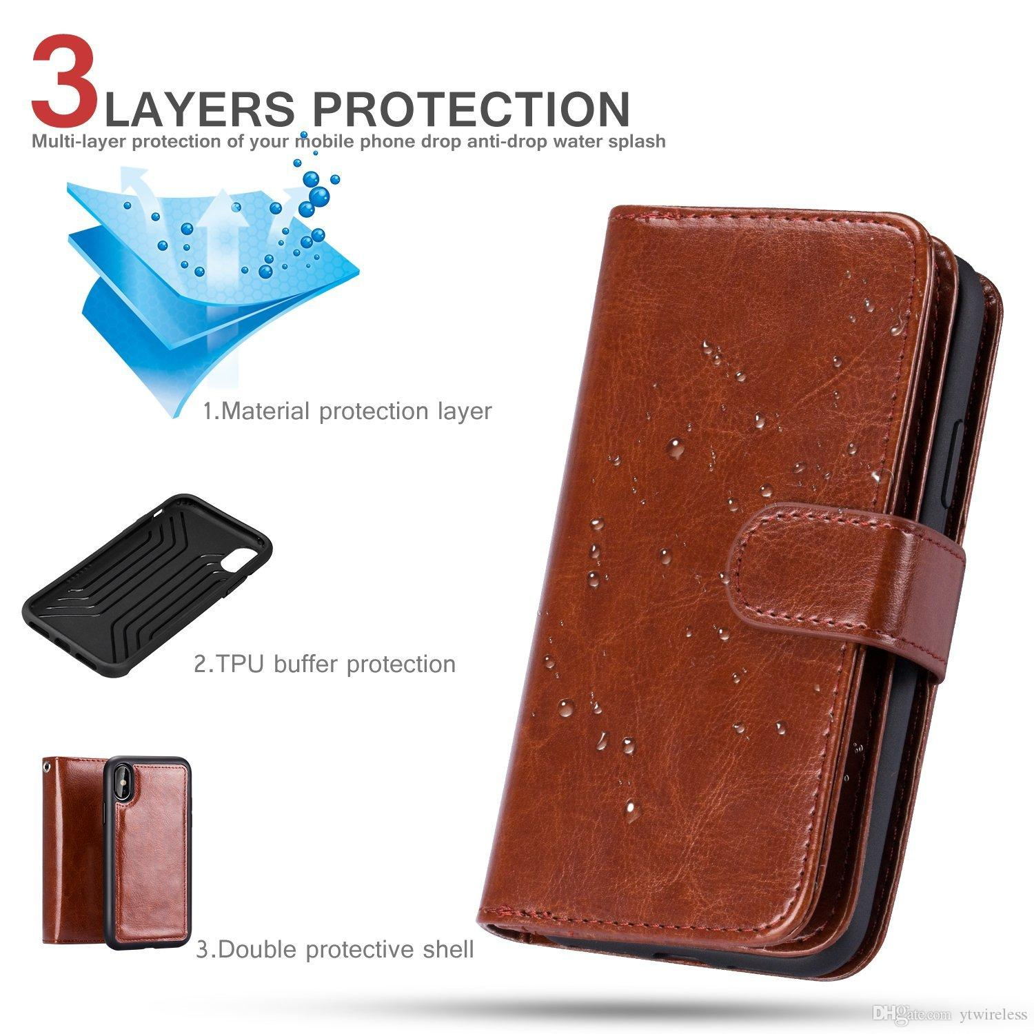 For iphone X IPHONE 8 PLUS IPHONE 7 7 PLUS PU Leather Credit Card Slots Carrying Folio Flip Cover Detachable Magnetic Kickstand wallet