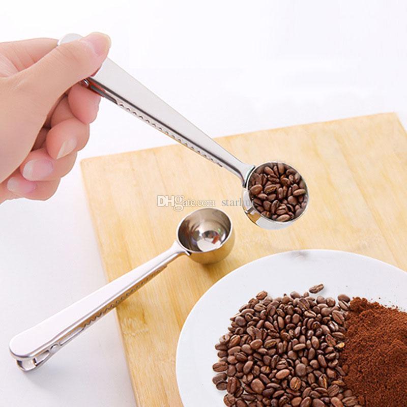 Paslanmaz Çelik Kahve Çanta Ile Kaşık Ölçme Mühür Klip Gümüş İşlevli Jöle Dondurma Meyve Kepçe Kaşık Mutfak Aksesuarları WX9-473