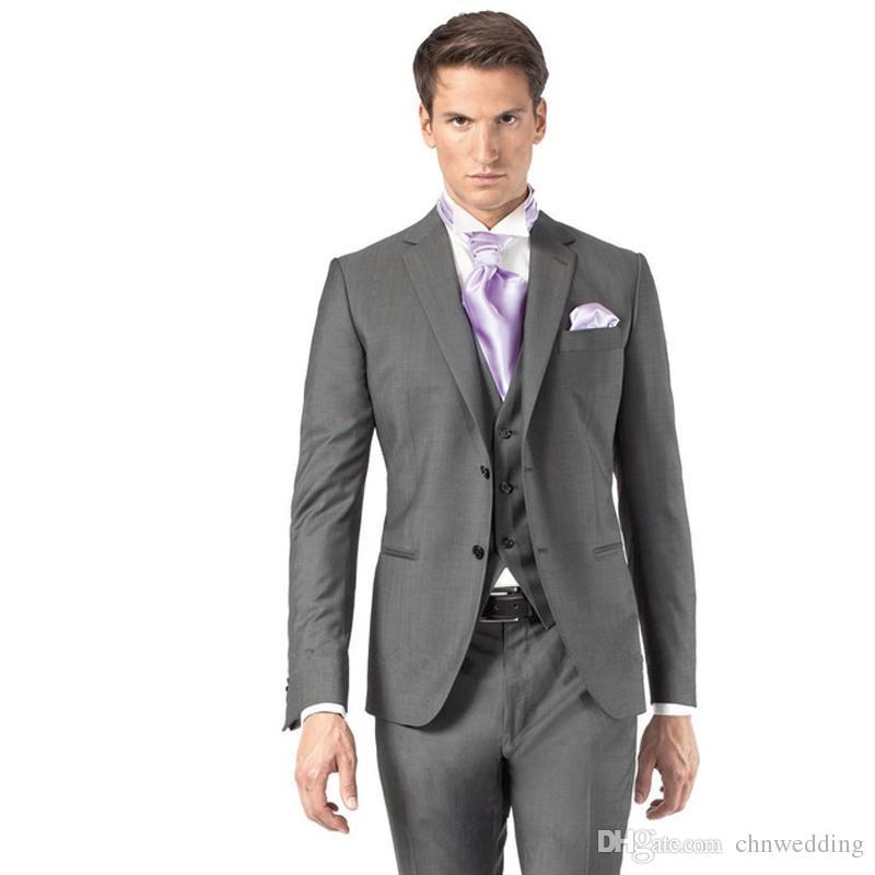 Acheter Gris Slim Fit Mariage Hommes Costumes Groom Tuxedos 3 Pièces Veste  + Pantalon + Gilet Costumes Marié Meilleur Homme Business Wear De  102.01  Du ... 8f3c0f68f77