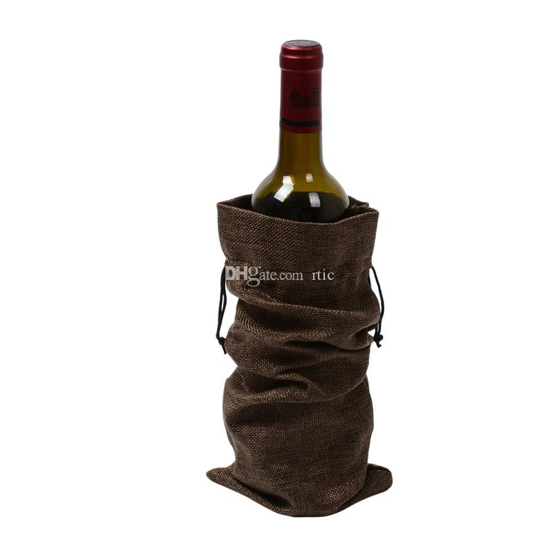 Jute Wine Bottle Bags champagne Bottle Covers Linen Gift Pack Burlap Hessian Drawstring Pouch 6 x 14inch