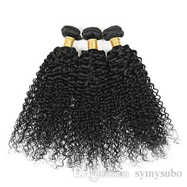 """8""""-26"""" Virgin Human Indian Hair Extensions For Short Hair Afro Kinky Curly Hair Weave 100G"""