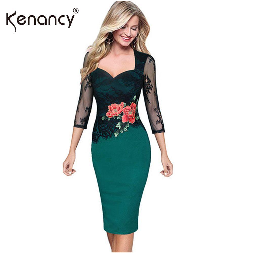 Kenancy 5XL Plus Size Elegant Patchwork Lace Floral Embroidery Pencil Dress  Women Square Neck 3 4 Sleeve Vestidos Party   Office D1891703 Summer Floral  ... 826d1a0fbdb4