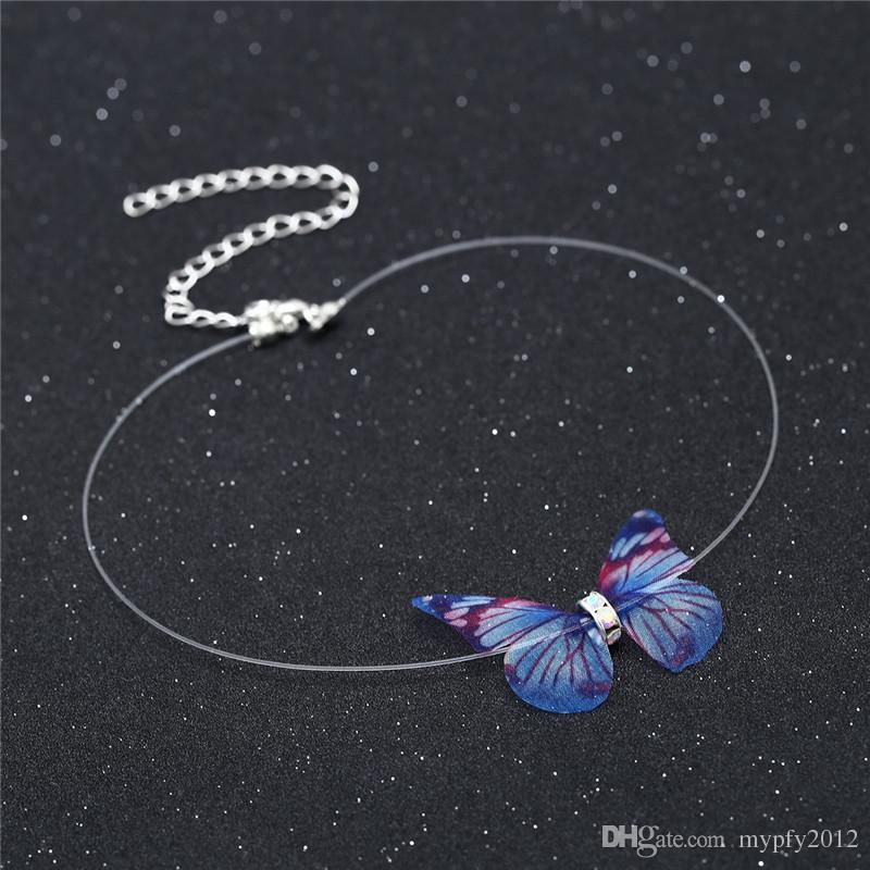 New Fashion Invisible Fish line Chain Crystal Colorful 3D Butterfly Chokers Necklace Silk Collar Necklaces For Women Gift XR