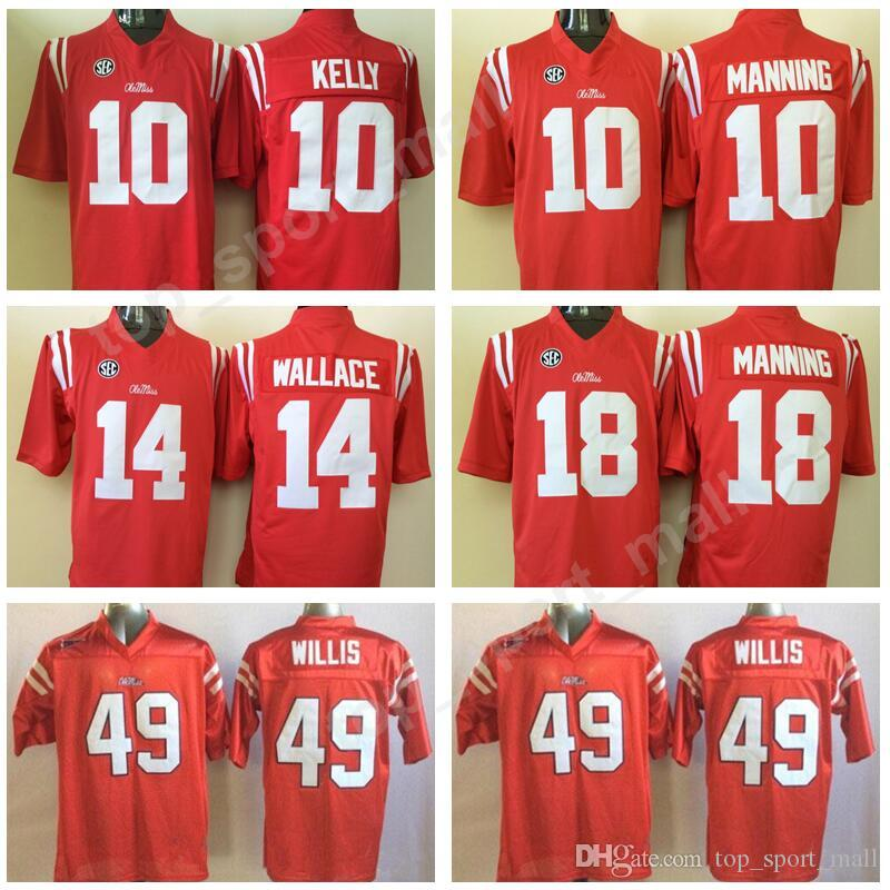 new style 3bf51 fe768 NCAA Ole Miss Rebels Football 10 Eli Manning Jersey SEC College 10 Chad  Kelly 14 Bo Wallace 18 Achie Manning 49 Patrick Willis
