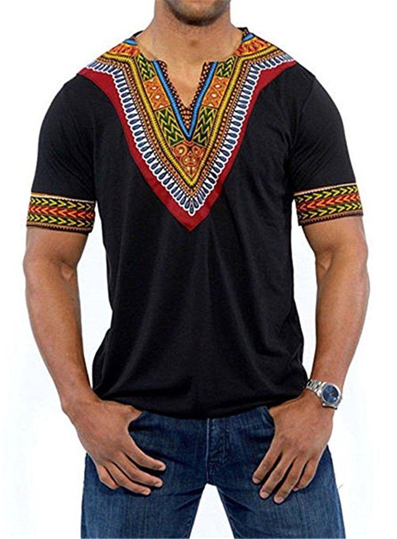 e96a61de7b2 Men's African Clothing Print Dashiki T-Shirt Knitting Stitching Short Sleeve  V Neck Tops Men's Males Short Sleeve T Shirt Tops Kaftan Black Panther Dark  ...