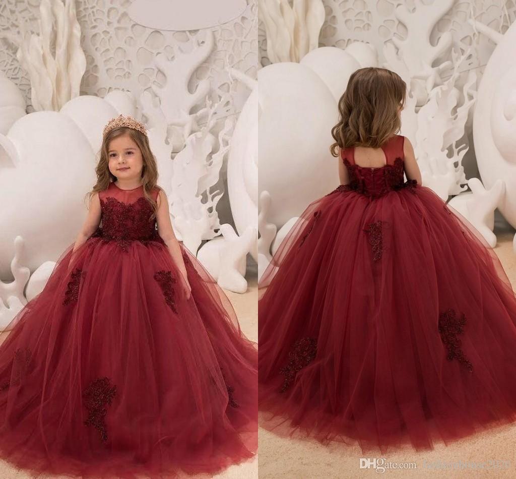 6fa6b9c1b677a 2018 Burgundy Puffy Girls Pageant Dresses Illusion Beaded Hollow Back Lace  Applique Ball Gown Sweep Trian Kids Flower Girls Birthday Gowns Cheap  Pageant ...