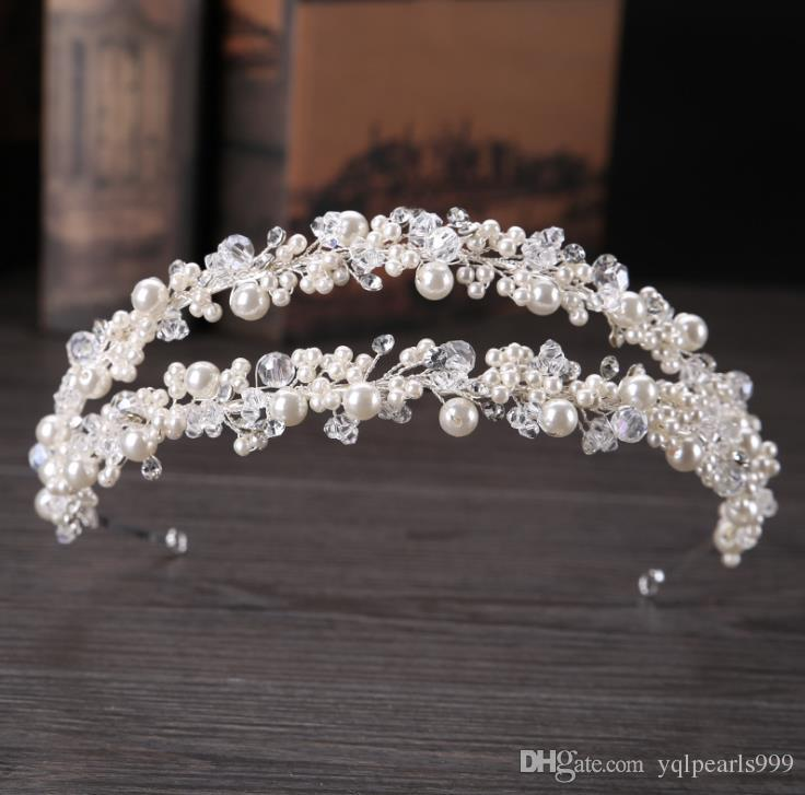 Pearl double row hair hoop, white hand made pearl drill headwear, hair band, bridal crown.