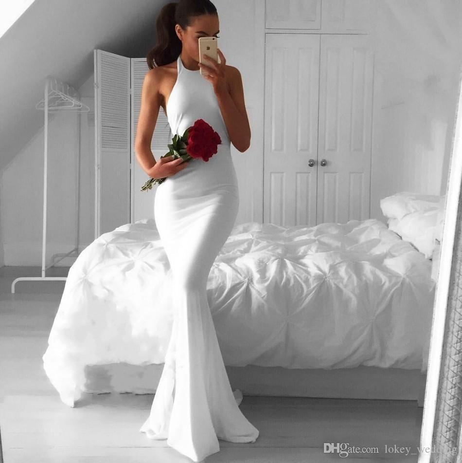 Sexy Backless White Long Mermaid Evening Dresses 2017 Cheap Fast Shipping Simple Halter Arabic African Prom Dress Formal Gowns
