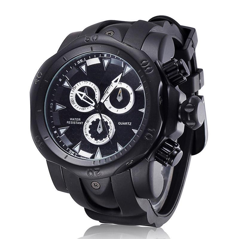 ce3a64778a8 Compre 2018 Novo Relógio Dos Homens De Luxo Da Marca Dos Homens Esportes  Silicone Preto Big Dial Relógios Ao Ar Livre De Quartzo Masculino Relógio  Relogio ...