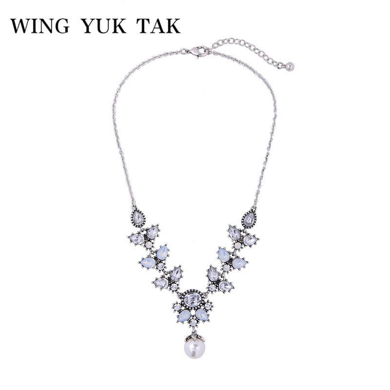 459c1a9e45c4 Compre Ala Yuk Tak Vintage Crystal Flower Gargantilla Collar Top Fashion Jewelry  Mujeres Boho Declaración Collar De Perlas Simuladas Colgante A  10.34 Del  ...