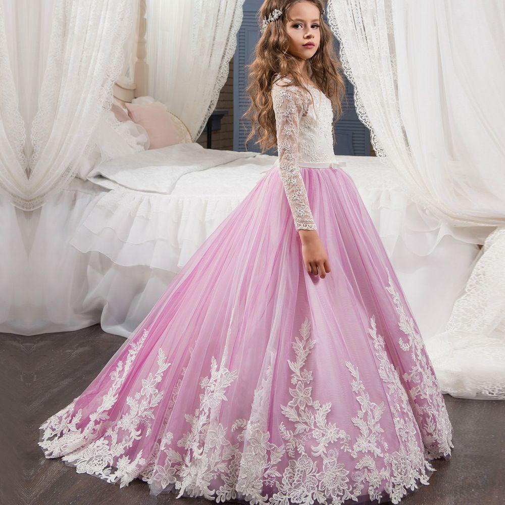 Dance Children\'s Dress, Flower Dress, Lace, Long Sleeves, Small Tail ...