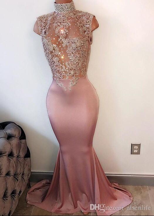 Sexy Ärmel SpitzeAppliques Nixe-Abend-Kleid-Ansatz gebördelten Abschlussball-Kleider 2018 Arabisch-formale Partei-Kleider