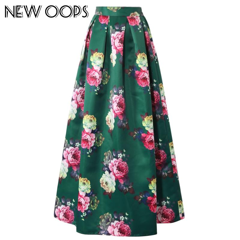 b7d2ee047c60 2019 OOPS Women Vintage Long Skirts 100cm New 2018 A Line Floral Printed  Pleated Maxi Skirts Fluffy Flared Saias Femininas A1604027 S916 From  Ruiqi02, ...