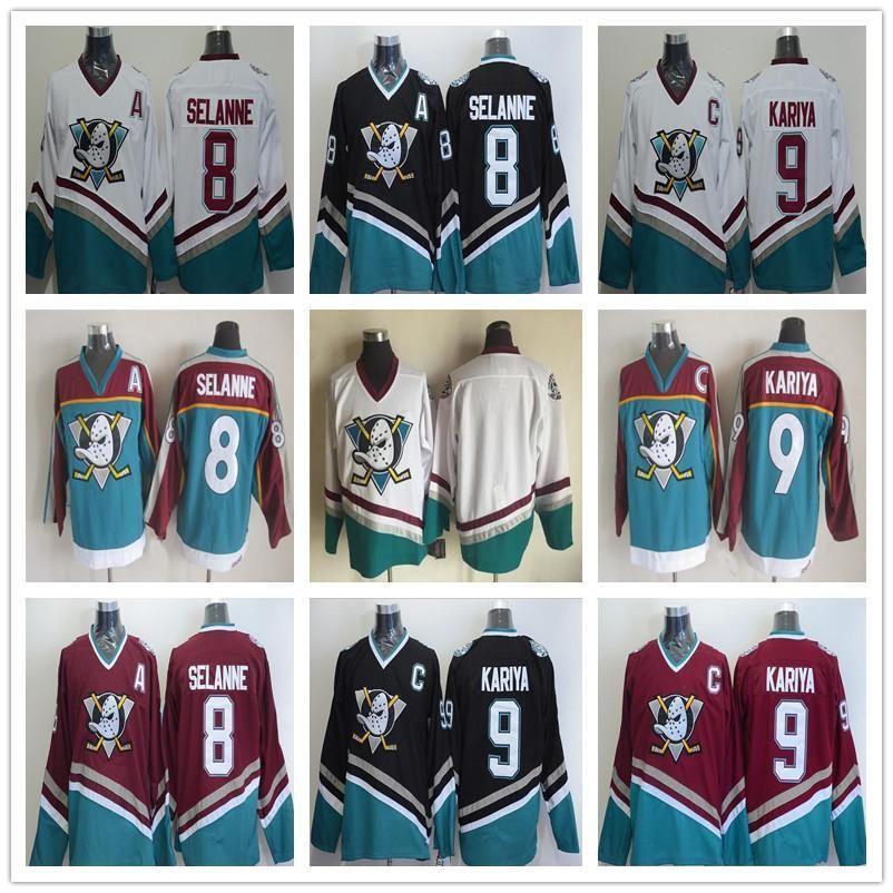0a77bf9a ... 2019 ccm vintage men stitched anaheim mighty ducks hockey jerseys 8  teemu selanne 9 paul kariya