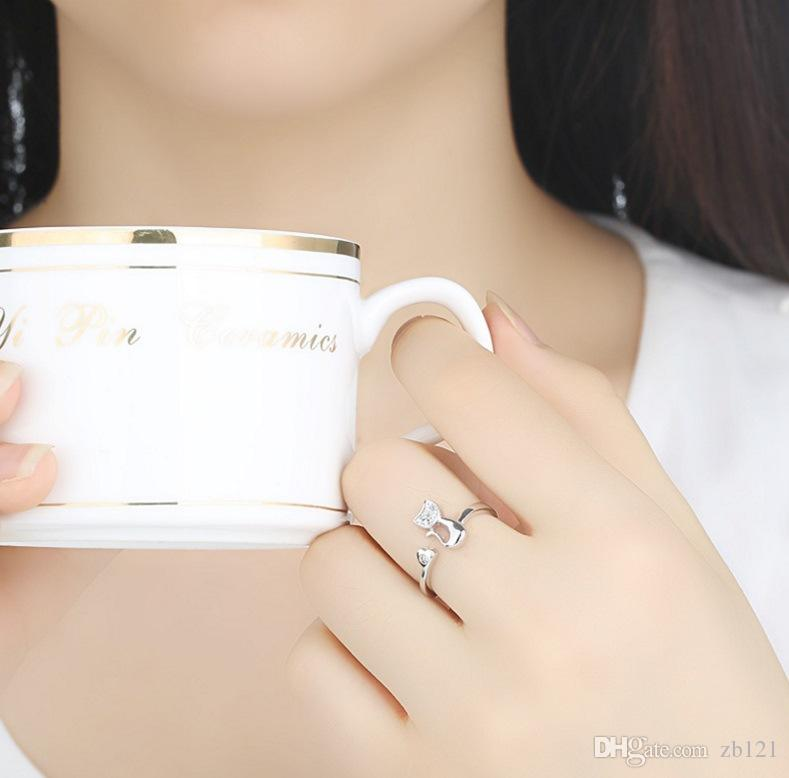 Nouveau charme cristal top qualité zircon cubique cristal incrusté anneau de chat animal mignon pour femmes / filles