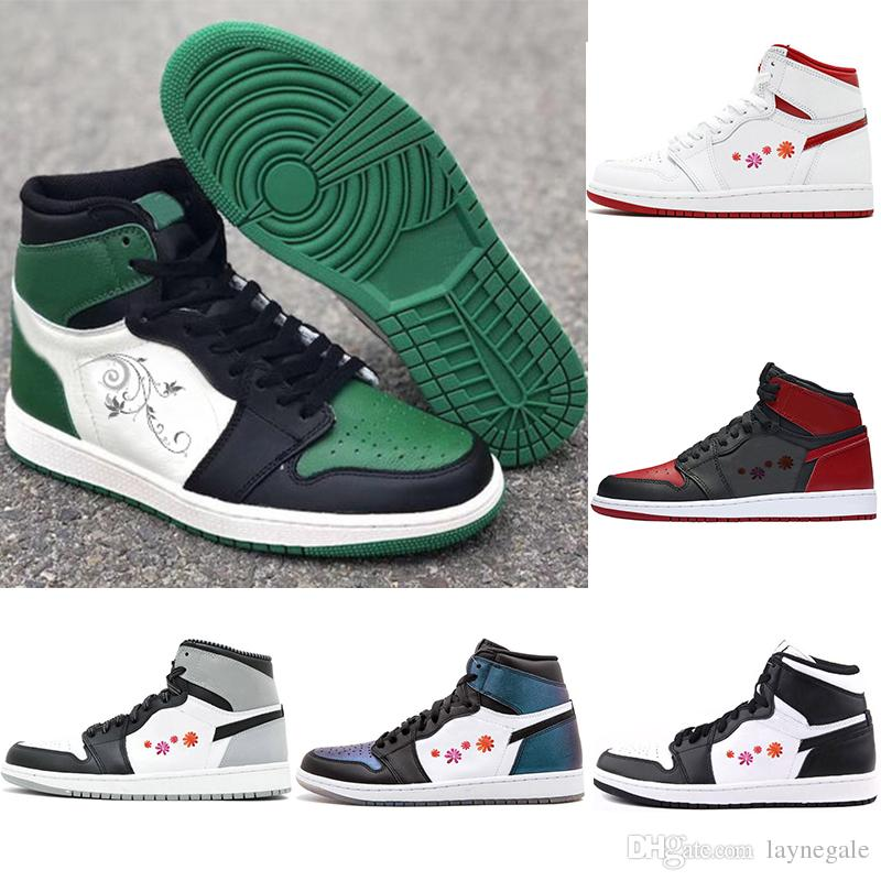 official photos 7f731 0d454 OG 1 Pin Green Court Purple Mens Basketball Shoes 1s Top 3 Bred Toe Gold  Chicago Game Royal Shattered Backboard Chameleon Sports Trainers Sneakers  Jordans ...