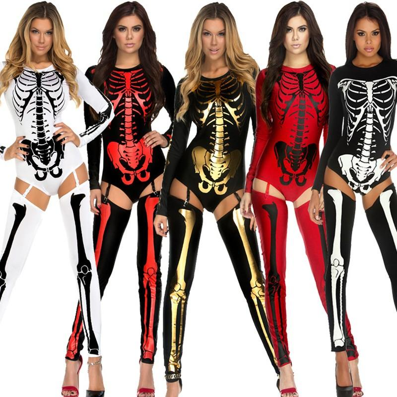 Halloween Group Costumes Scary.6 Colors Women Halloween Party Costume Scary Devil Ghost Cosplay Catsuit Skull Skeleton Prints Leotard With Leggings