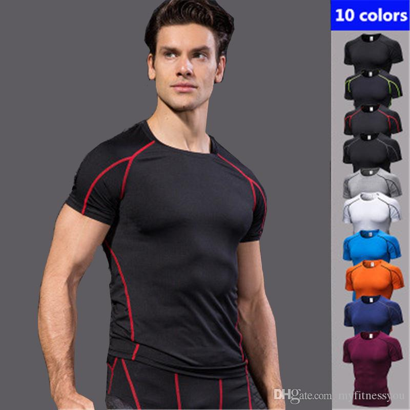 T-shirts Sportbekleidung Geschickt 2019 Sport Männer T-shirt T-shirt Kurzarm Kompression Shirt Gym T-shirt Fitness Männer Der Hemd
