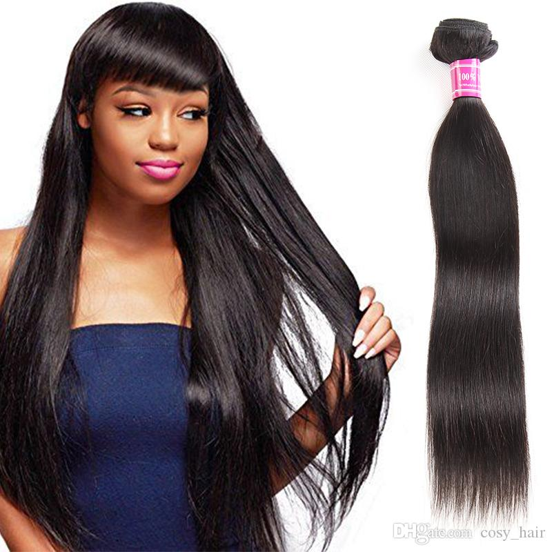 Brazilian Virgin Hair Straight Human Hair Bundles Body Wave Closure