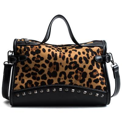 71359cfabf2 Brand Leopard Print Boston Women Bag Vintage Shoulder Bags Rivet Big Women  Handbags Designer PU Leather Bags Ladies New Cute Purses Rosetti Handbags  From ...