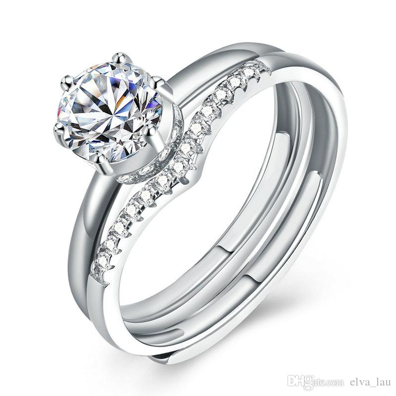 0bc803c18f4b7 925 Sterling Silver Promise Rings For Women Adjustable Opening Platinum  Plated Round Cubic Zirconia Wedding Engagement Rings