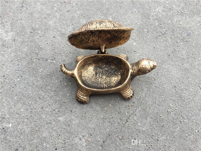 Piccolo 3 pezzi in ghisa tartaruga portacenere cenere portacenere in metallo con coperchio bronzo antico bar pub club casa decorazione della tavola vecchio regalo d'oro