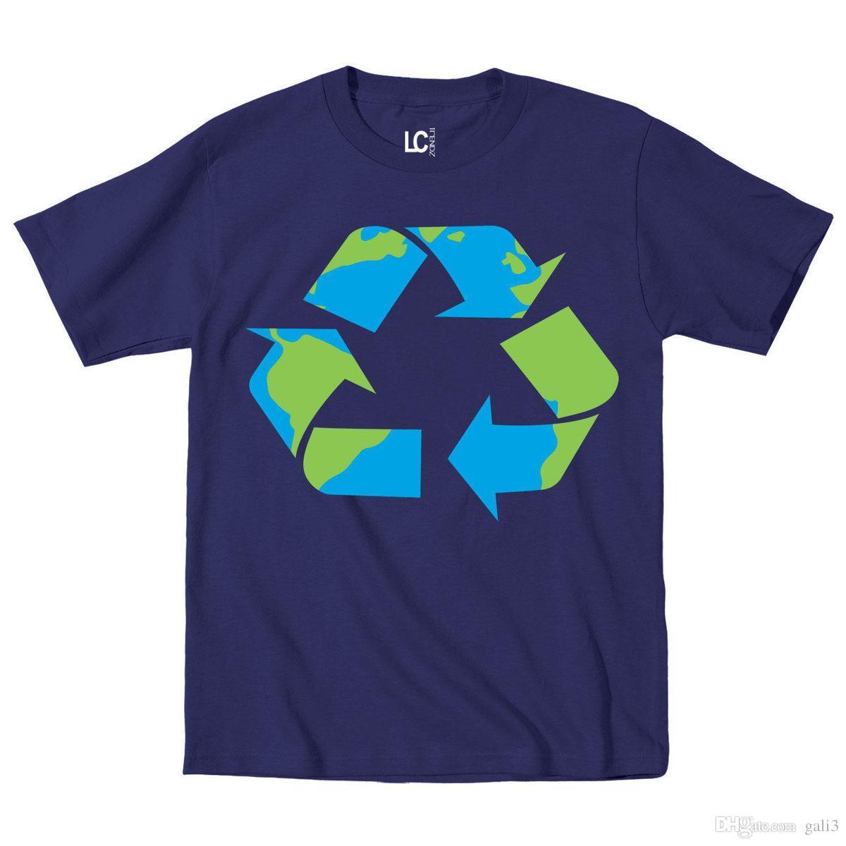 7447affae Compre Logotipo De Reciclaje Imprimir Día De La Tierra Ir Verde Reducir  Reutilizar Camiseta Para Hombre De La Madre Tierra Camiseta Estampada  Camiseta De ...