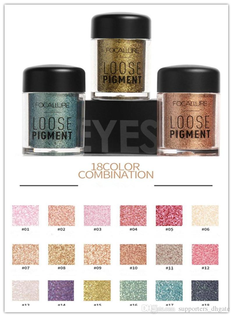 Dropshipping Focallure Brand Glitter Eyeshadow Powder 18 colors Makeup Loose Shimmer Eye shadow Pigment 3D Nude Metallic Cosmetics Make up