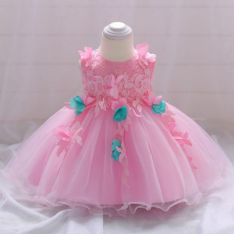 78ddefee0207 2019 Infant Baptism Dress Baby Girls Pink Lace Dress Baby 1st ...