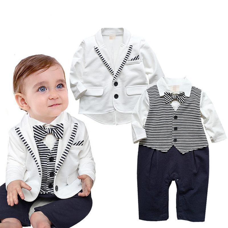 d091964a102b4 2019 Newborn Baby Boys Clothes Set Gentleman Striped Tie Romper + Jacket  Coat Clothing Set Infant Boy New Born Baby Suit From Cassial