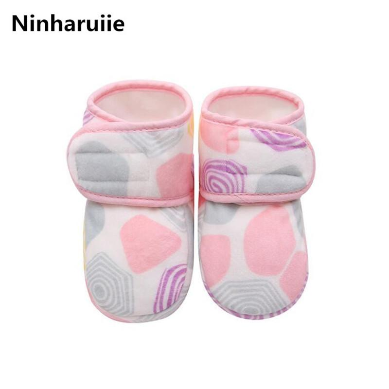 081c695705c10 Ninharuiie Baby Shoes Winter Warm Boys Girls Cotton Padded Boots Newborn  Infant Soft Flannel First Walkers Toddlers Shoes