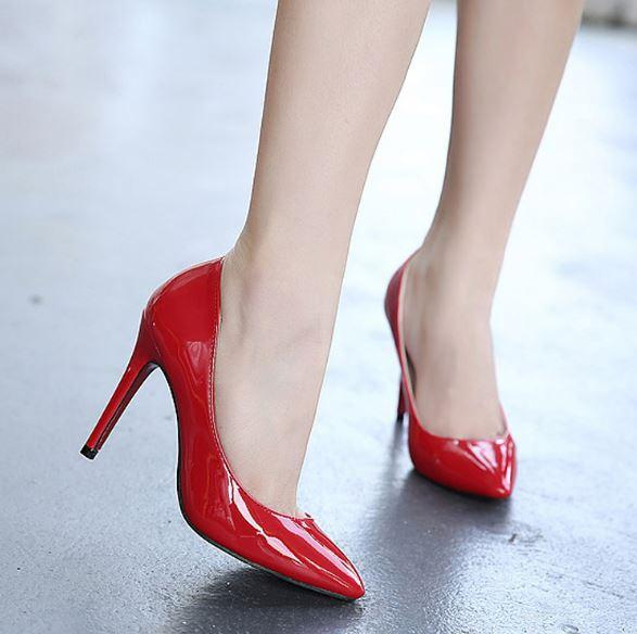 bb9ae161bba Red Pumps Patent leather Pigalle Heels WOMEN Wedding shoes Pointed toe fine  heels Sexy Woman High heels 35-44