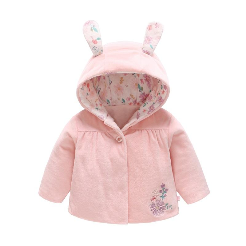 e51a9f4b8f668 Vlinder 2018 Winter New Fashion Baby Girls Botton Ears Hooded Warm Cartoon Coat  Cute Pink Bunny Pocket Infant Cotton Outerwear Winter Jackets For Children  ...