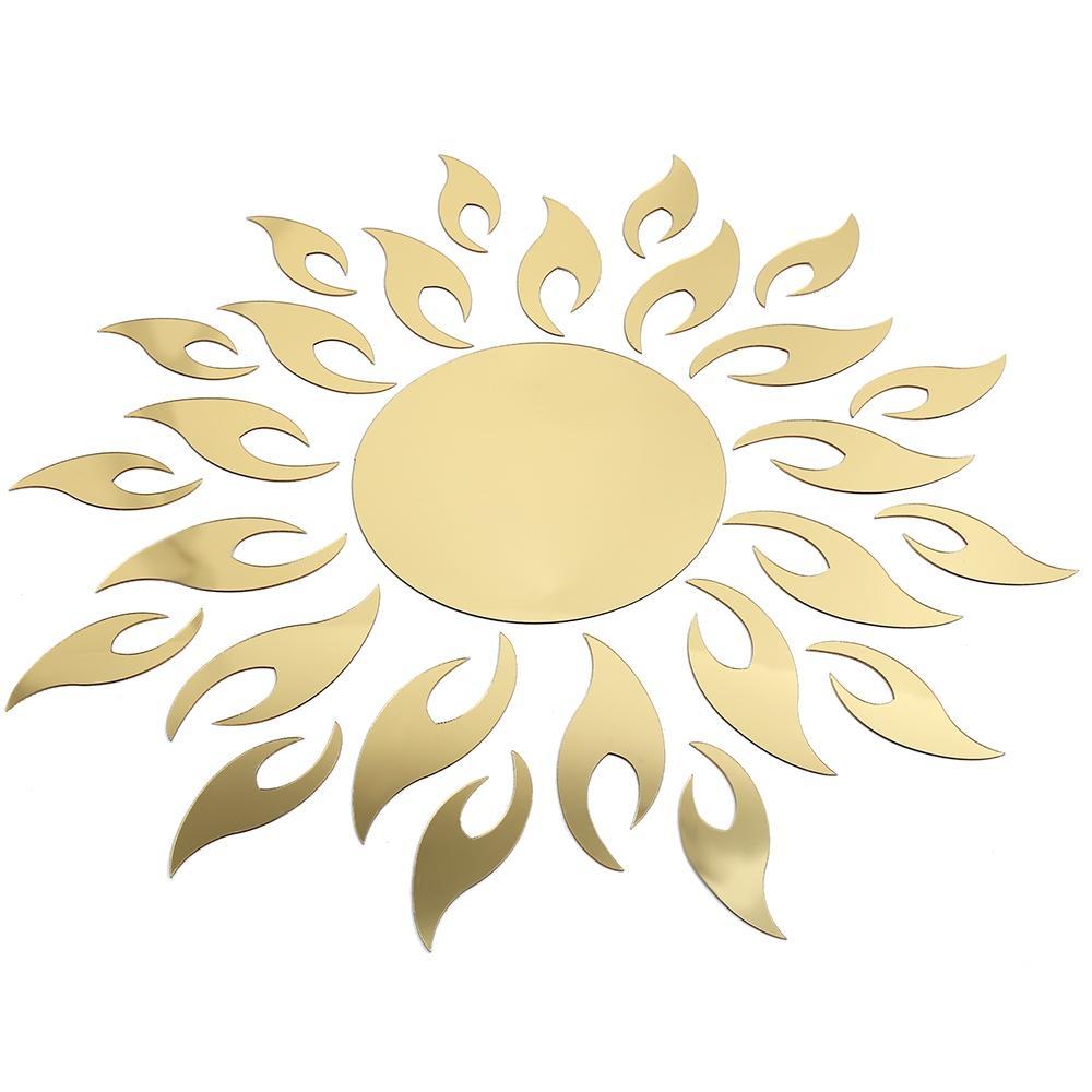 Creative Sun Sunshine Fire Sunflower Wall Sticker 3d Mirror Effect ...
