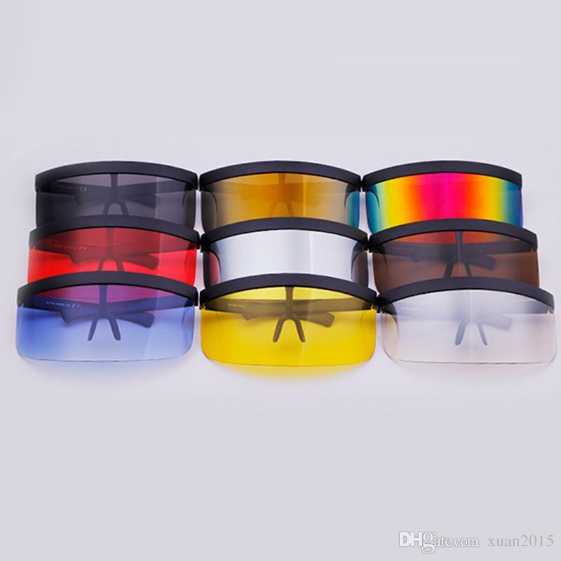 Vintage Extra Oversize Shield Visor Lunettes de Soleil Femmes Plat Top Masque Miroir Shades Hommes Coupe-Vent Lunettes UV400 Y275