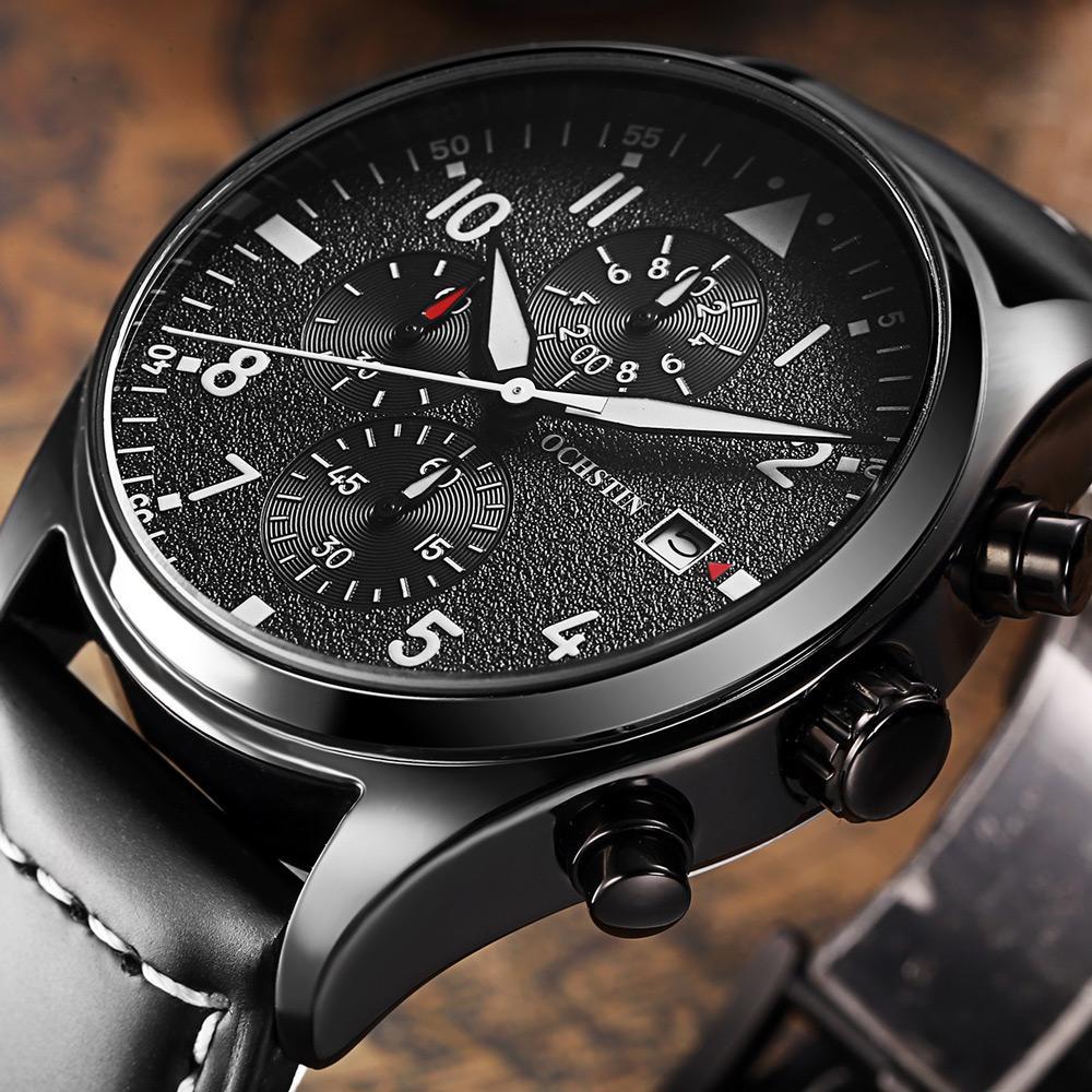 2bcc56b2ffe8 Compre Ochstin Marca Nueva Moda Casual Hombre Reloj De Cronógrafo Reloj De  Deporte Correa De Cuero De Lujo Elegante Reloj De Cuarzo De La Muñeca A   30.14 ...