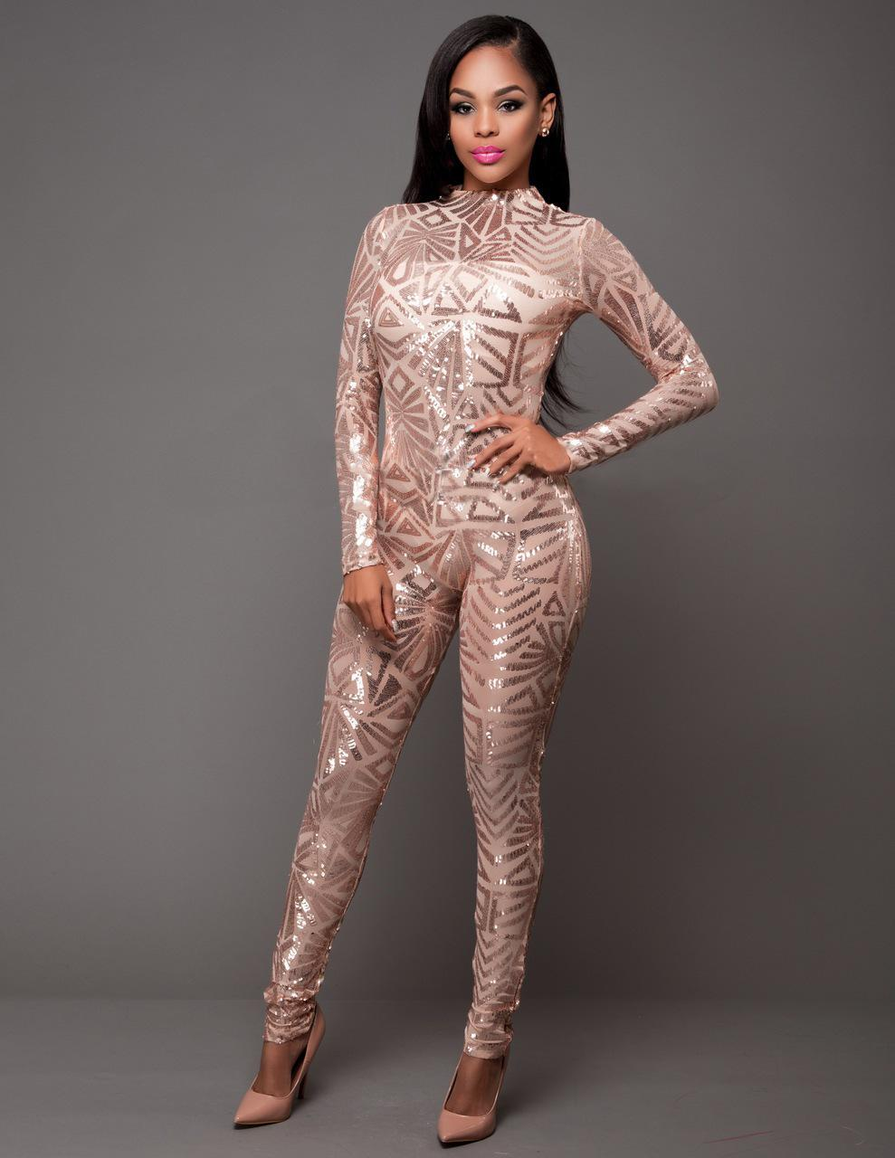 b18654e45d4a 2019 Spring Women Sequin Jumpsuit Sexy O Neck Mesh Patchwork Bodysuit  Glitter Long Sleeve Romper Women Party Club Catsuit N272 From Rykeri